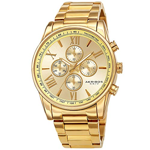 Akribos XXIV Men's Chronograph Watch - 4 Subdials Multifunction Complications with Tachymeter on Heavy Stainless Steel Yellow Gold Bracelet Watch - AK1072 (Yellow Gold)