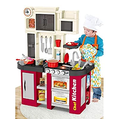 Amazon - Save 80%: VEZARON US Stock Kitchen Cabinet Playset, Kids Play Kitchen with Realistic Lig…