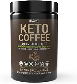 Keto Coffee – Instant Fat Drink with MCTs for Ketogenic Diet - Boost Ketone Production and Energy, Caffeinated 20 Servings