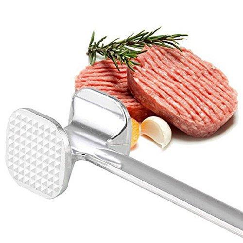 jieGorge Ostern Küche Esszimmer Bar 19,5 cm zweiseitig Aluminium Fleischhammer Hammer Rind Huhn Steak Rindfleisch Schweinefleisch Silber
