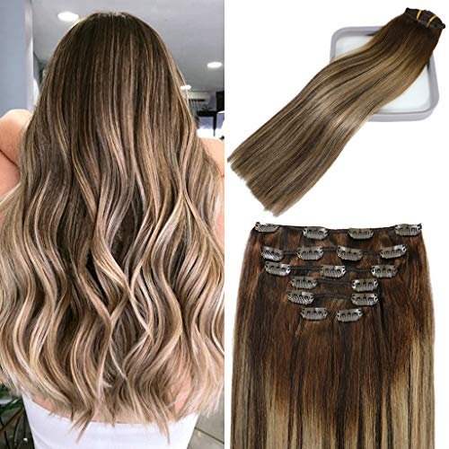 Lashup Hair Extensions For Women Clip Ins 120g Soft Straight Full Head Hair Balayage Ombre Mushroom Brown Hair Extensions Real Human Hair Extensions Thickend Double Weft Clips 20Inch 7PCS