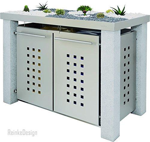 Reinkedesign vuilcontainerhuisje met granieten palen & plantenbak 2x240L