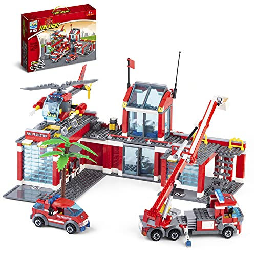 QLT City Fire Station Building Kit, 774 Pcs Building Set Including Fire Station, Fire Truck, Fire Helicopter,Fire Fighter, City Building Blocks STEM Toys Gift for Boys and Girls 6-12 Years Old