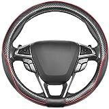 SEG Direct Coprivolante Universale in Pelle Standard 37-39cm Con Motivo in Fibra Di Carbonio Nero E Rosso