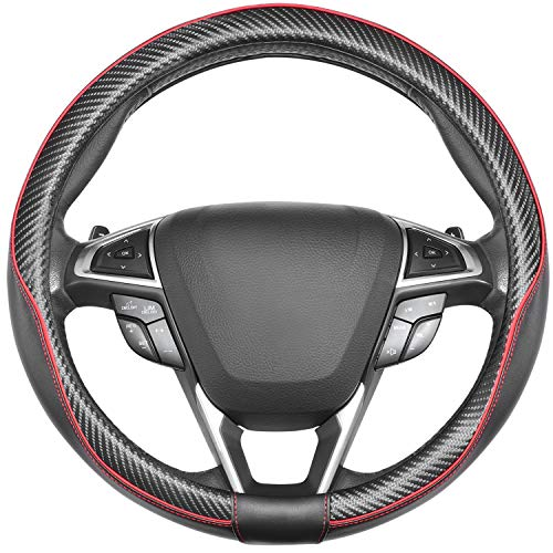 SEG Direct Car Steering Wheel Cover Universal Standard-Size 14 1/2''-15'' Leather with Carbon Fiber Pattern Black and Red