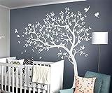 Arbre blanc Stickers muraux Grand arbre de pépinière Autocollants avec des oiseaux magnifique arbre blanc Murale amovible vinyle mur tatouage KW032_1