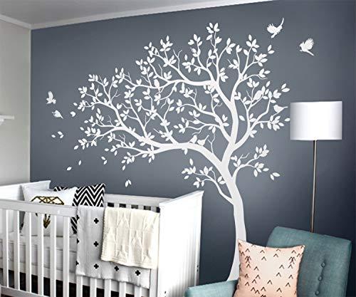 Weiß Baum Wandaufkleber Groß Baum Wandtattoo mit Vögeln KW032