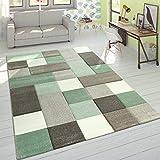 Paco Home Alfombra Diseño Moderna Perfil Contorneado Colores Pastel Cuadros Beige Verde, tamaño:80x150 cm