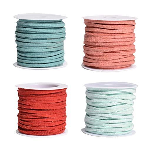 SUPVOX Hilo de cordón de cuero de imitación - 4 colores - 5 metros de cada color - Cuerda de gamuza para bricolaje pulsera, collar y joyería (azul oscuro, naranja, azul claro, rojo vino)