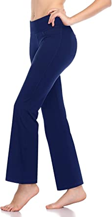 Roseseedlove High Waist Yoga Pants Workout Tummy Control Pants for Women 4 Way Stretch Yoga Leggings with Pockets Long Bootleg Yoga Pant NW102