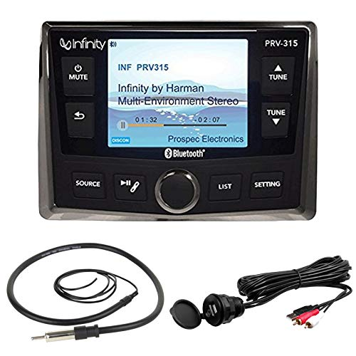 """Infinity PRV-315 AM/FM Radio Receiver USB Port Bluetooth 200 Watt Waterproof Marine Stereo, Bundle Combo With Enrock AUX/USB to RCA Cable + 22"""" Wired Radio Reception Antenna"""