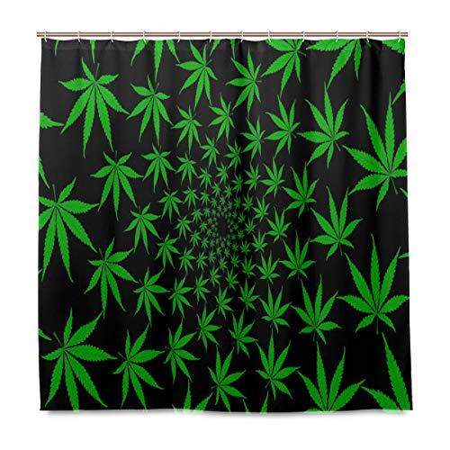 Doshine Wasserdichter Duschvorhang, Hanf, Marihuana-Blätter, grün, dekorativer Polyesterstoff, mit 12 Haken, 182,9 x 182,9 cm
