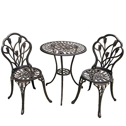Cast Aluminium Garden & Patio Table & Chairs Outdoor Bistro Dining Set of 2 Chairs & 1 Round Table Outdoor Garden Furniture for Patio Terrace Decking Durable Weather Resistant & Rust Free