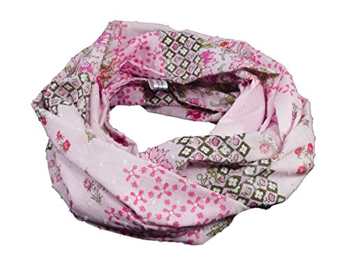 bettina bruder - Leichter Loop Schlauchschal Blumen Bordüre rosa Batist 100% Baumwolle