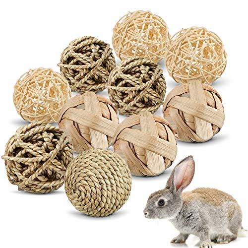 10 Stück Kaubälle, Kleintiere Kauspielzeug, Kaninchen Kaubälle, Heu Ball Kauspielzeug, Kleintierspielzeug Ball, kaninchen ball, Kauspielzeug Grasball, Grasball Für Kaninchen, hasen spielzeug(A)