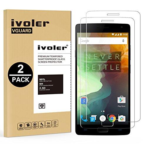 ivoler [2 Stücke] Panzerglas Schutzfolie für OnePlus 2 [9H Festigkeit] [Anti- Kratzer] [Bläschenfrei] [2.5D R&e Kante]