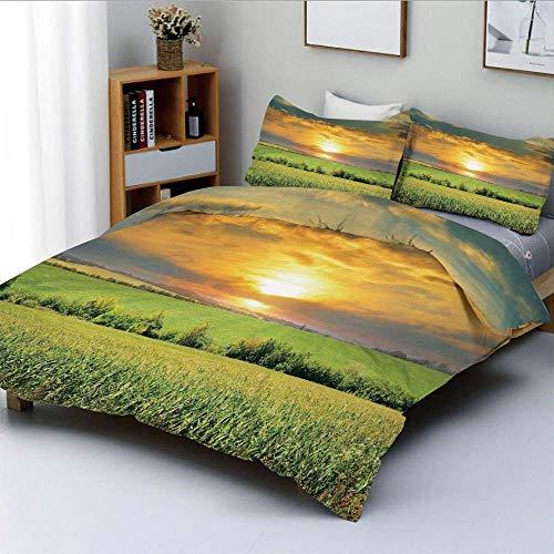Juego de funda nórdica, campo de maíz y amanecer en el cielo de verano Paraíso natural Pastura de luto Ver imagen Juego de cama decorativo de 3 piezas con 2 fundas de almohada, verde amarillo, el mejo