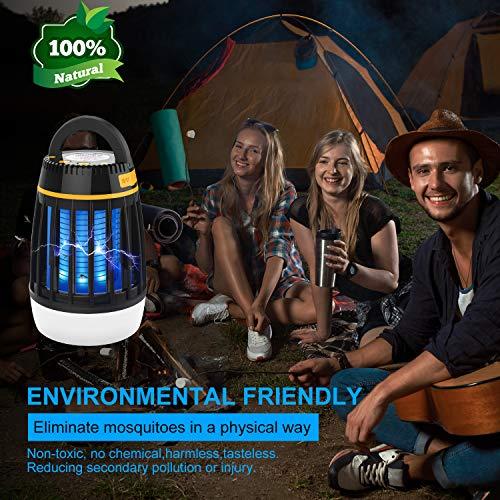 Dkinghome Lampe Abeilles Camping Lanterne Tueur Rechargeable Lumière Extrérieur Insecte Piège Répulsif LED Portable Electrique 3 en 1-Noir Unisex-Adult, φ8.99cm X 13.5cm