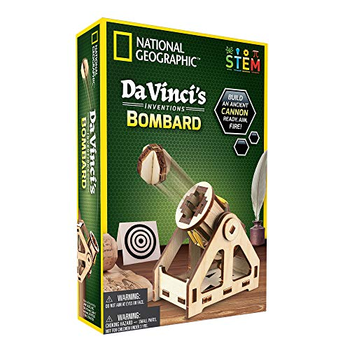 NATIONAL GEOGRAPHIC Construction Model Kit - Build Your Own Wooden Model of The Original Bombard, Learn about Da Vinci's Improved Designs, Craft Kits are a Perfect Gift for Girls and Boys