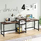 Tribesigns 96.9' Double Computer Desk with Printer Shelf, Extra Long Two Person Desk Workstation with Storage Shelves, Large Office Desk Study Writing Table for Home Office, Dark Brown
