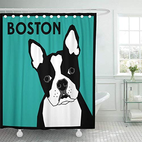 Abaysto Black French Boston Terrier White Bulldog Face Dog Head Cartoon Animal Accessories Polyester Fabric Shower Curtain Sets with Hooks Waterproof Bathroom Decor