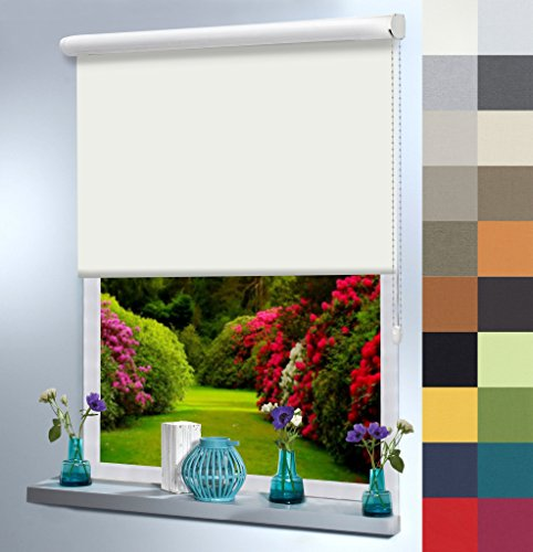 Sun World Verdunklungsrollo nach Maß, Aluminium Kassette, hochqualitative Wertarbeit, Rollo nach Maß, für Fenster und Türen, lichtundurchlässig, an Wand oder Decke (120cm H x 130cm B/Alaskagrau)