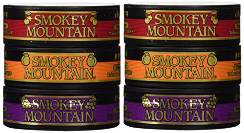 Smokey Mountain Snuff - 6 Can Sampler Pack (Grape + Peach + Cherry)