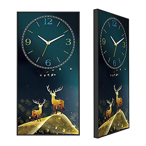 Reloj de jardín, Ciervo Reloj de Pared Pintura Decorativa Interior Reloj de Pared silencioso 11.8X23.6 Pulgadas Reloj de Pared de Estilo Moderno Sala de Estar Dormitorio Sala de EST