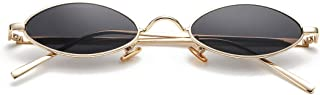 Vintage Small Oval Sunglasses for Women Men Hippie Cool Metal Frame Sun Glasses