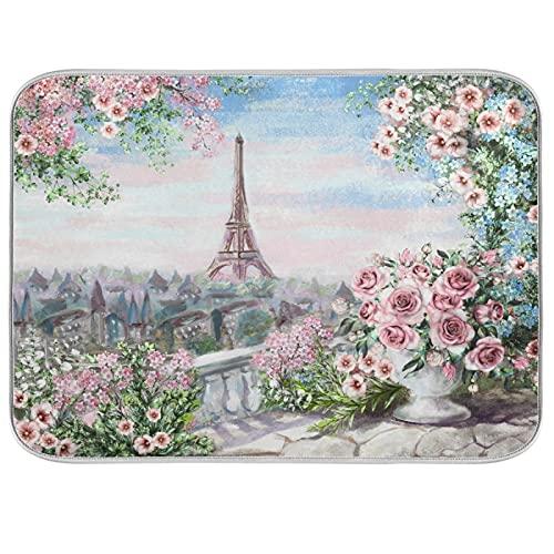 Oarencol Alfombrilla de secado para platos de la torre Eiffel de Paris, grande, reversible, de microfibra, 45,7 x 60,7 cm