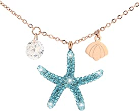 UALGL 18k Rose Gold Starfish Necklace for Women Girl Beautiful Gift Box