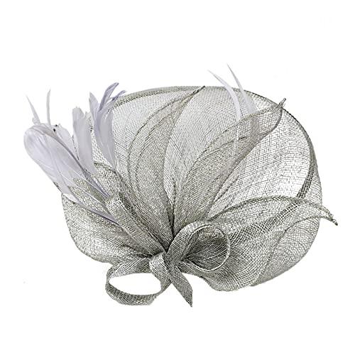Yue668 - Vestido de noche de tul con decoración media cara pequeña, sombrero alto de forma, gorros adecuados para sombreros de boda, sombrero de mujer vintage tradicional, Mujer, J, talla única