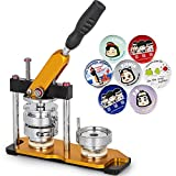 VEVOR Button Maker 1.5inch Rotate Button Maker Yellow Rotate Button Badge Maker Machine with 100 Sets Circle Button Parts for Friends DIY(37mm 100pcs)
