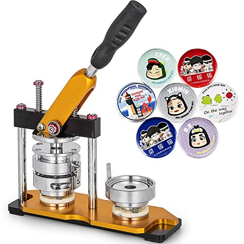 VEVOR Button Maker 1.25inch Rotate Button Maker Yellow Rotate Button Badge Maker Machine with 100 Sets Circle Button Parts for Friends DIY(32mm 100pcs)