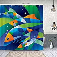 シャワーカーテン海をテーマにした円曲線の深さを持つ抽象的なデジタル幾何学的な断片化された魚 防水 目隠し 速乾 高級 ポリエステル生地 遮像 浴室 バスカーテン お風呂カーテン 間仕切りリング付のシャワーカーテン 150 x 180cm