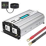 GIANDEL 2000W Reiner Sinus Wechselrichter DC 12V auf AC 230V Spannungswandler Power Inverter mit 2.4A Doppelte USB-Anschlüsse und Fernbedienung und LCD-Anzeige für Wohnmobil-LKW