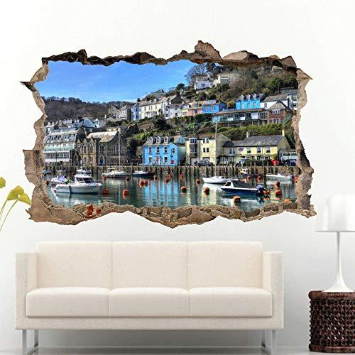 Pegatinas de pared de barco de puerto 3d arte mural calcomanía decoración de oficina en casa Póster Arte 3D Mural 50x70cm