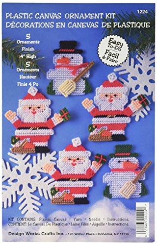 Tobin Père Noël et Bonhomme de Neige 7 Fils Ornaments Plastique sur Toile kit