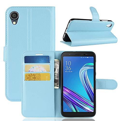 BAIYUNLONG Funda Protectora, Litchi Texture Horizontal Flip Funda de Cuero for ASUS ZenFone Live (L1) ZA550KL, con Billetera y Soporte y Ranuras for Tarjetas (Negro) (Color : Blue)