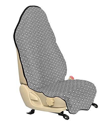 ABAKUHAUS Grijs en Wit Beschermhoes voor autostoelen, Ontwerp, met Antislip Achterkant, Universele Maat, 75 x 145 cm, Charcoal Grey White
