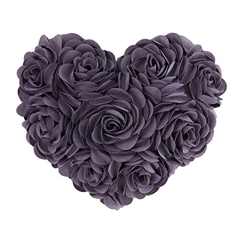 JWH 3D Rose Flower Handmade Accent Pillow Valentine's Day Cushion Decorative Heart Shape Pillow Case Home Couch Bed Living Guest Room Chair Car Decor Wife Girlfriend Gift 13 x 16 Inch Mauve