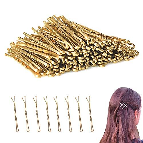 Ealicere Pinces à Cheveux, 200pcs Épingles à Cheveux Essentials de Coiffure, Métal Invisible Bobby Pins avec Pointe de Bille, Accessoires de Cheveux Mini Barrettes,d'or 2.2inch