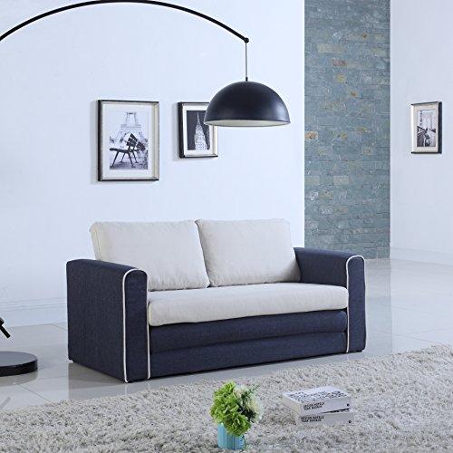 Divano Roma Furniture Modern Sofas, Dark Blue/Beige