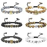 Finrezio 6PCS Mens Bead Bracelets Set Dragon/Lion/Panther/Owl/Elephants/Buddhas Charm Lava Rock Natural Stone Bracelet Adjustable, 8MM(Style B:6Pcs of Adjustable)