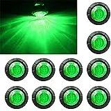 """ Purishion 10x 3/4"""" Round LED Clearence Light Front Rear Side Marker Indicators Light for Truck Car Bus Trailer Van Caravan Boat, Taillight Brake Stop Lamp (12V, Green)"