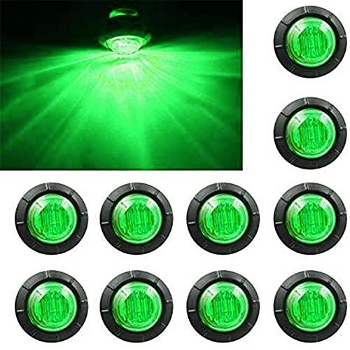 Purishion 10x 3/4 Round LED Clearence Light Front Rear Side Marker Indicators Light for Truck Car Bus Trailer Van Caravan Boat, Taillight Brake Stop Lamp (12V, Green)