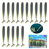 Duuv Soft Bass Fishing Lures for Bass,Trout,Worms ,Swimbaits Exquisite and Realistic Movement Soft Fishing Baits Slow Sinking, for Freshwater or Saltwater(3.8in,15PCS)