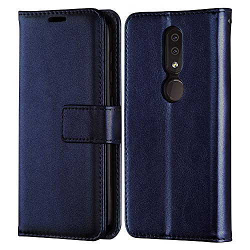 TECHGEAR Leder Hülle Passt Nokia 4.2 - PU Leder Flip Hülle Schutzhülle Ledertasche [Brieftasche] Handyhülle mit Ständer & Handschlaufe Beutel Hülle - Blau