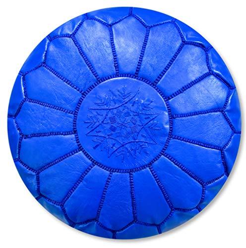 Poufs&Pillows Puf de piel artesanal de alta calidad, hecho a mano, con relleno, otomano, reposapiés, cojín de suelo (azul)