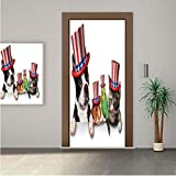 Fourth of July ONE Piece Door Stickers,Cute Pet Animal Dog Cat Bird and Hamster with American Hat Celebration Image Decorative 30x80' Peel & Stick Removable Wall Mural,Decal,Poster for Door/Wall/Fridg